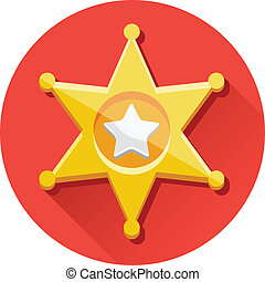 vetorial, dourado, xerife, estrela, ícone