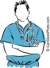 vetorial, doutor, ilustração, homem