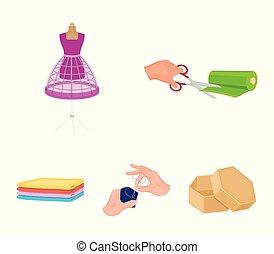 vetorial, dummy, tecido, jogo, ícones, web., tecidos, cosendo, cosendo, estilo, ilustração, mão, equipamento, corte, clothes., cobrança, tesouras, caricatura, símbolo, estoque