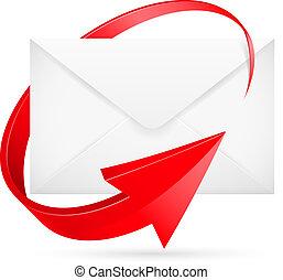 vetorial, e-mail, com, seta