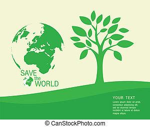 vetorial, -, ecológico, e, salvar, a, wo