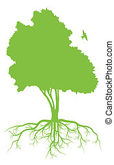 vetorial, ecologia, árvore, raizes, fundo