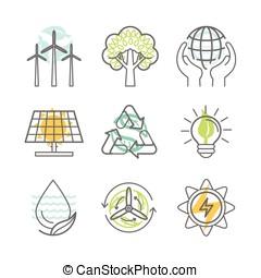 vetorial, ecologia, ícones