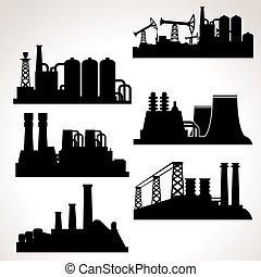 vetorial, edifícios, industrial, jogo