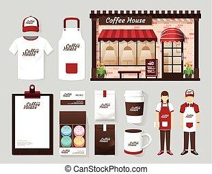 vetorial, edifícios, restaurante, e, café, parte dianteira loja, desenho, voador, menu, pacote, t-shirt, boné, uniforme, e, exposição, design/, esquema, jogo, de, identidade incorporada, escarneça, cima, template.