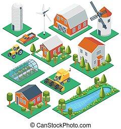vetorial, edifícios, trator, rural, cottages., combinar, pickup, 3d, jogo, isometric, ícones