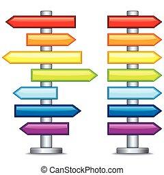 vetorial, editable, coloridos, guidepost.
