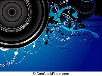 vetorial, editable, fundo, áudio