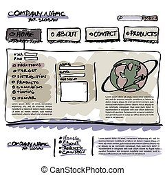 vetorial, editable, site web, modelo