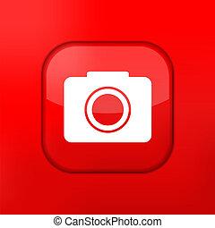 vetorial, editar, eps10., câmera, fácil, icon., vermelho