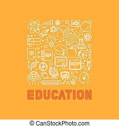 vetorial, educação, conceito, em, trendy, linear, estilo
