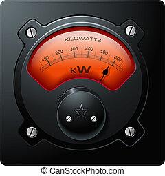 vetorial, elétrico, análogo, medidor, vermelho