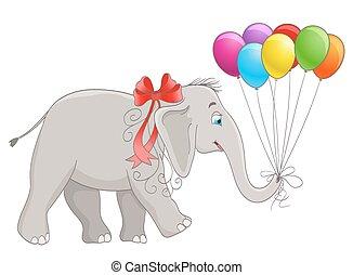 vetorial, elefante, bebê, balões, caricatura, fita
