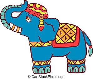 vetorial, elefante, isolado, ilustração, white.