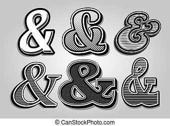 vetorial, elegante, fr, jogo, ampersands
