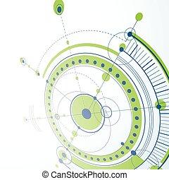 vetorial, elementos, backdrop., técnico, sistema, ilustração digital, blueprint, engenharia, circles., verde, perspectiva, fundo, tecnológico, desenho, geomã©´ricas, abstratos, 3d