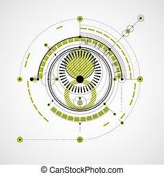 vetorial, elementos, backdrop., técnico, sistema, ilustração digital, blueprint, engenharia, circles., experiência verde, tecnológico, desenho, geomã©´ricas, abstratos