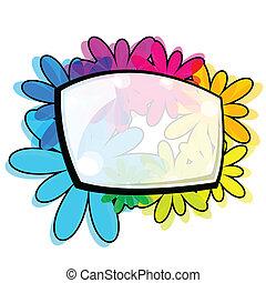 vetorial, elementos florais, desenho, ilustração
