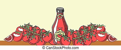 vetorial, elementos, natural, fundo, saudável, garrafa, menu, alimento., tomatoe, advertisement., products., orgânica, sauce., legume fresco, barzinhos, feito, bandeira, ketchup, illustration.