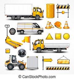 vetorial, elementos, transporte, illustration., white.