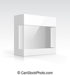vetorial, em branco, caixa, com, transparente, janela
