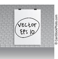 vetorial, em branco, cartaz, wall., branca, illustration.