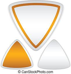 vetorial, em branco, triangulo, adesivos