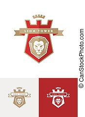 vetorial, emblema, com, leão, cabeça