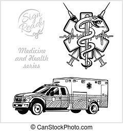 vetorial, emergência, clínica, símbolo, médico, isolado, transporte, emblem., cuidado, ilustração, carro., hospitalar, ambulância