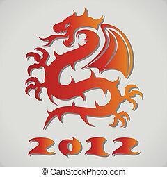 vetorial, empapele dragão