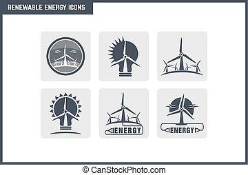vetorial, energia renovável, ícone, jogo