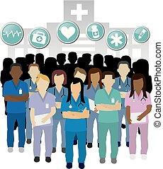 vetorial, enfermeira, sério, grupo, conceito