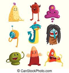vetorial, engraçado, fantástico, jogo, cartão postal, apartamento, adesivo, impressão, t-shirt, livro, crianças, cute, monsters., desenho, caricatura, ou, faces., criaturas