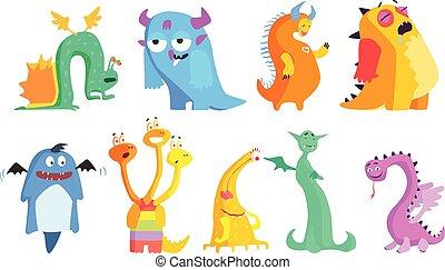 vetorial, engraçado, fantástico, jogo, coloridos, apartamento, cartão postal, adesivo, livro, asas, ou, crianças, projeto gráfico, chifres, monsters., tails., caricatura, criaturas