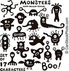 vetorial, engraçado, jogo, monstro, characters.