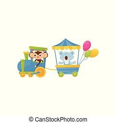 vetorial, engraçado, pequeno, koala, cartão postal, coloridos, apartamento, train., ou, aniversário, animals., livro, desenho, viajando, caráteres, impressão, caricatura, crianças, macaco