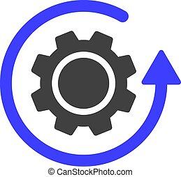 vetorial, engrenagem, rotação, apartamento, ícone, símbolo