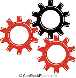 vetorial, engrenagem, trabalhando, conceito, indústria, tema, idea., engenharia, socialism, maquinaria, proletariado, classe, illustration.