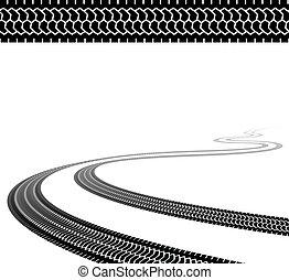 vetorial, enrolamento, traço, de, a, terreno, pneumáticos