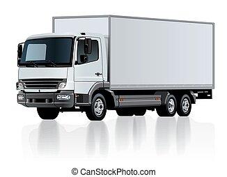 vetorial, entrega, modelo, isolado, caminhão carga