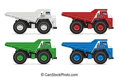 vetorial, entulho, ilustração, realístico, caminhões
