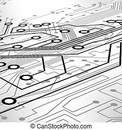 vetorial, eps10, ilustração, fundo, tábua, circuito, tecnologia