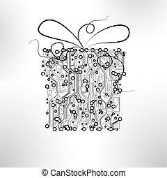 vetorial, eps10, presente, ilustração, fundo, tábua, circuito, tecnologia, natal