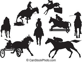 vetorial, eqüestre, cavalo