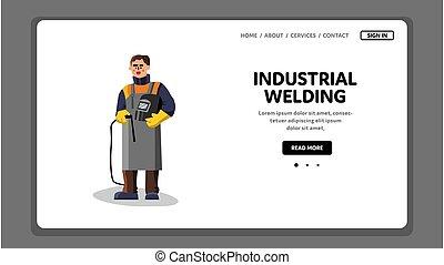 vetorial, equipamento industrial, soldadura, trabalhador