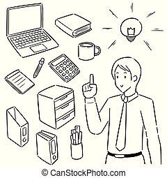 vetorial, equipamento, jogo, trabalhador, escritório