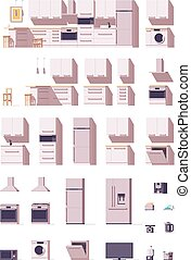 vetorial, equipamento, mobília, jogo, cozinha