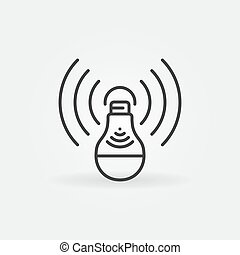 vetorial, esboço, ícone, bulbo, luz, wifi, conceito