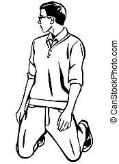vetorial, esboço, de, um, homem jovem, com, óculos, dela, kneess