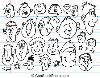 vetorial, esboço, doodle, jogo, caderno